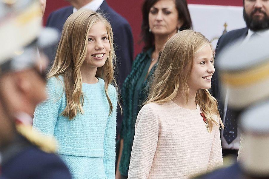 Les princesses Sofia et Leonor d'Espagne à Madrid, le 12 octobre 2019
