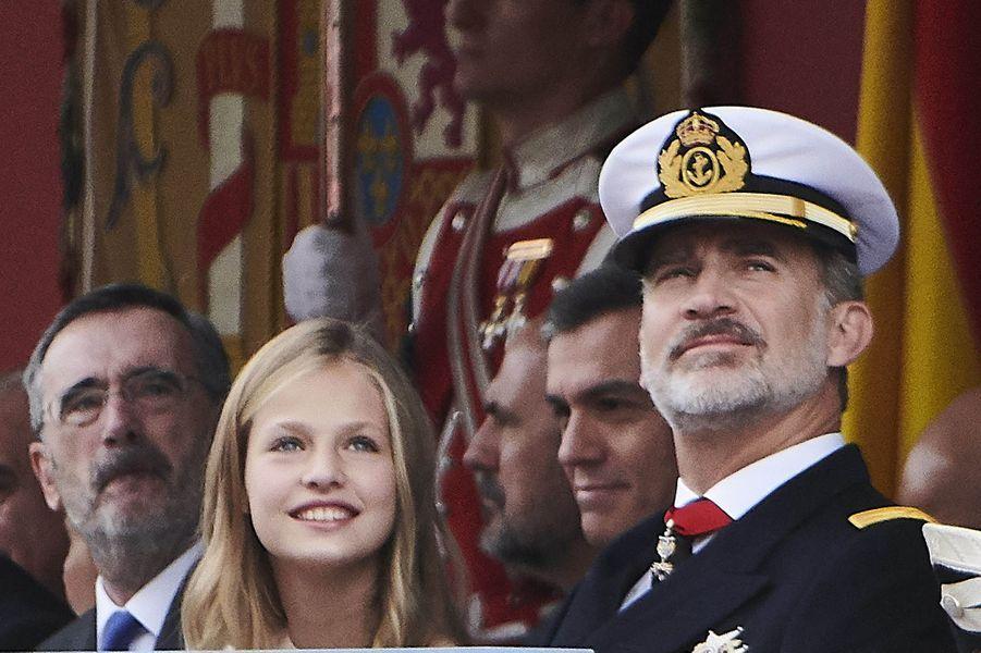 La princesse Leonor et le roi Felipe VI d'Espagne à Madrid, le 12 octobre 2019