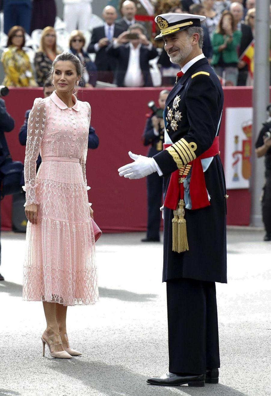 La reine Letizia et le roi Felipe VI d'Espagne à Madrid, le 12 octobre 2019