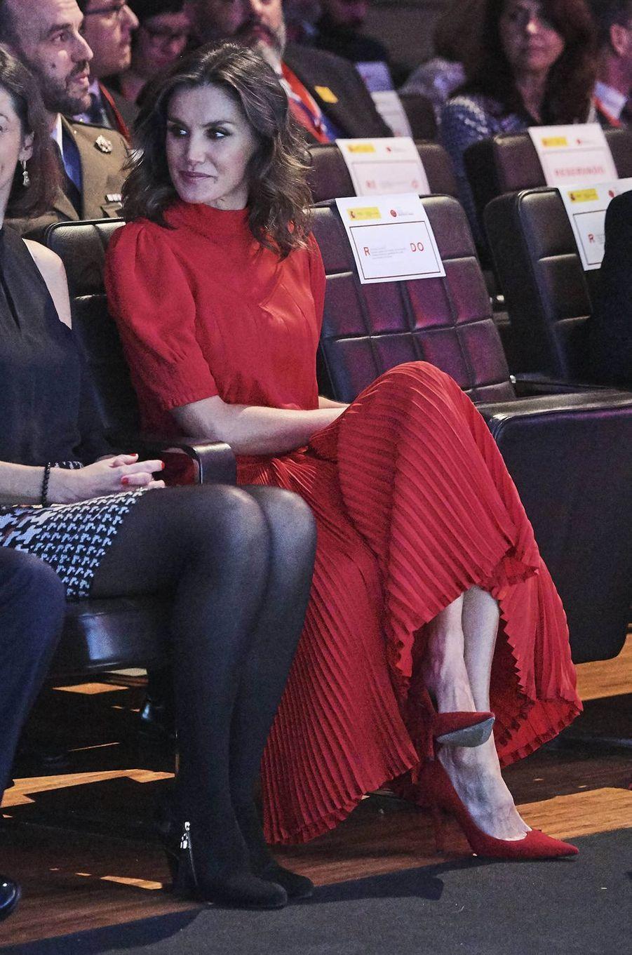La reine Letizia d'Espagne, le 19 décembre 2018 à Madrid