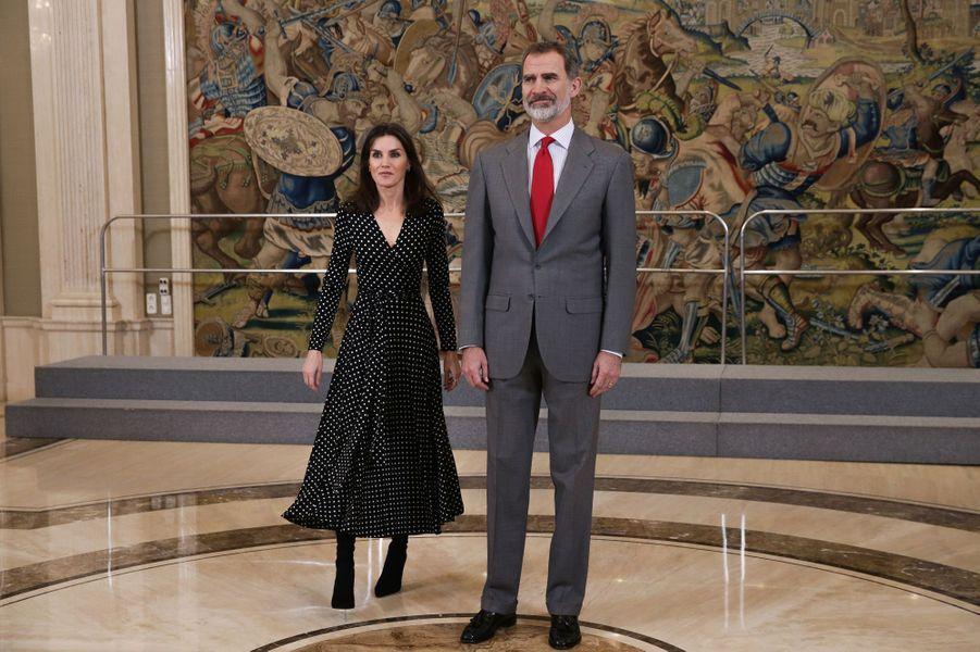 La reine Letizia et le roi Felipe VI d'Espagne au palais de la Zarzuela à Madrid, le 28 janvier 2020