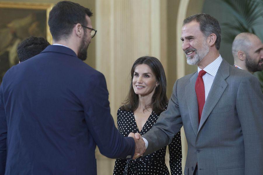 La reine Letizia et le roi Felipe VI d'Espagne à Madrid, le 28 janvier 2020