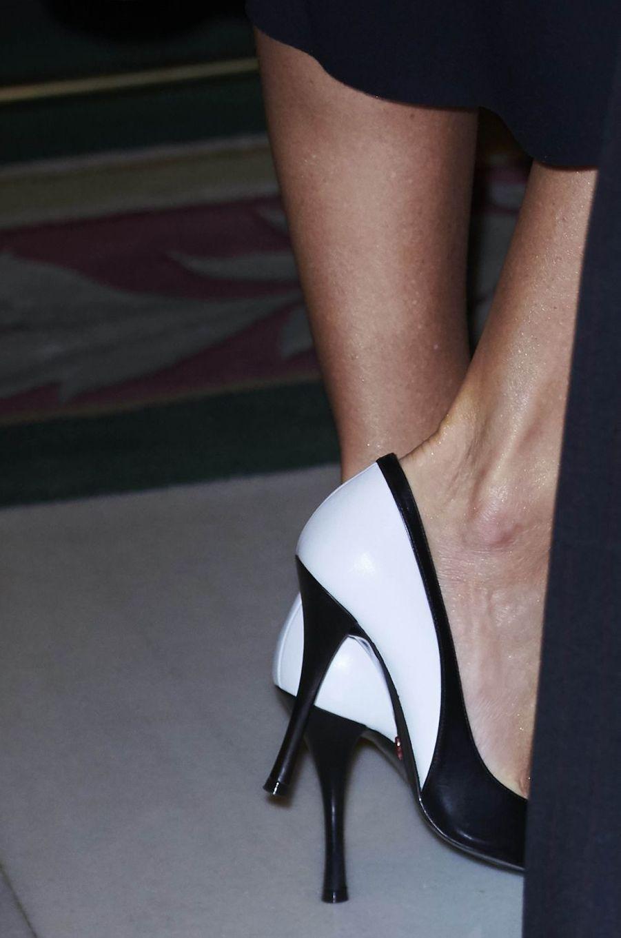 Les chaussures de la reine Letizia d'Espagne à Madrid, le 22 octobre 2018