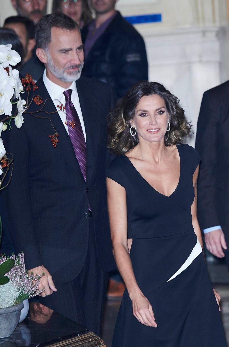 La reine Letizia et le roi Felipe VI d'Espagne à Madrid, le 22 octobre 2018