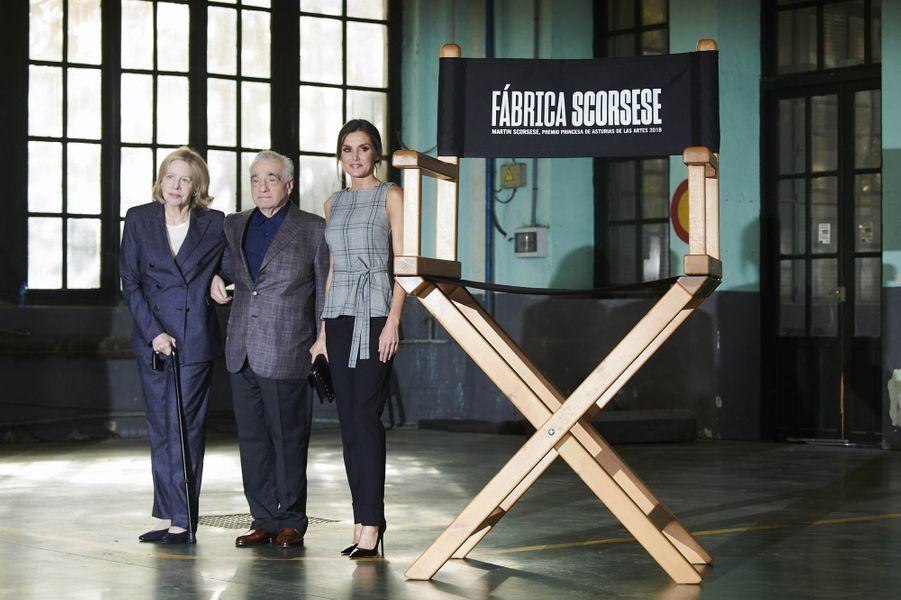 La reine Letizia d'Espagne avec Martin Scorsese et sa femme à Oviedo, le 18 octobre 2018
