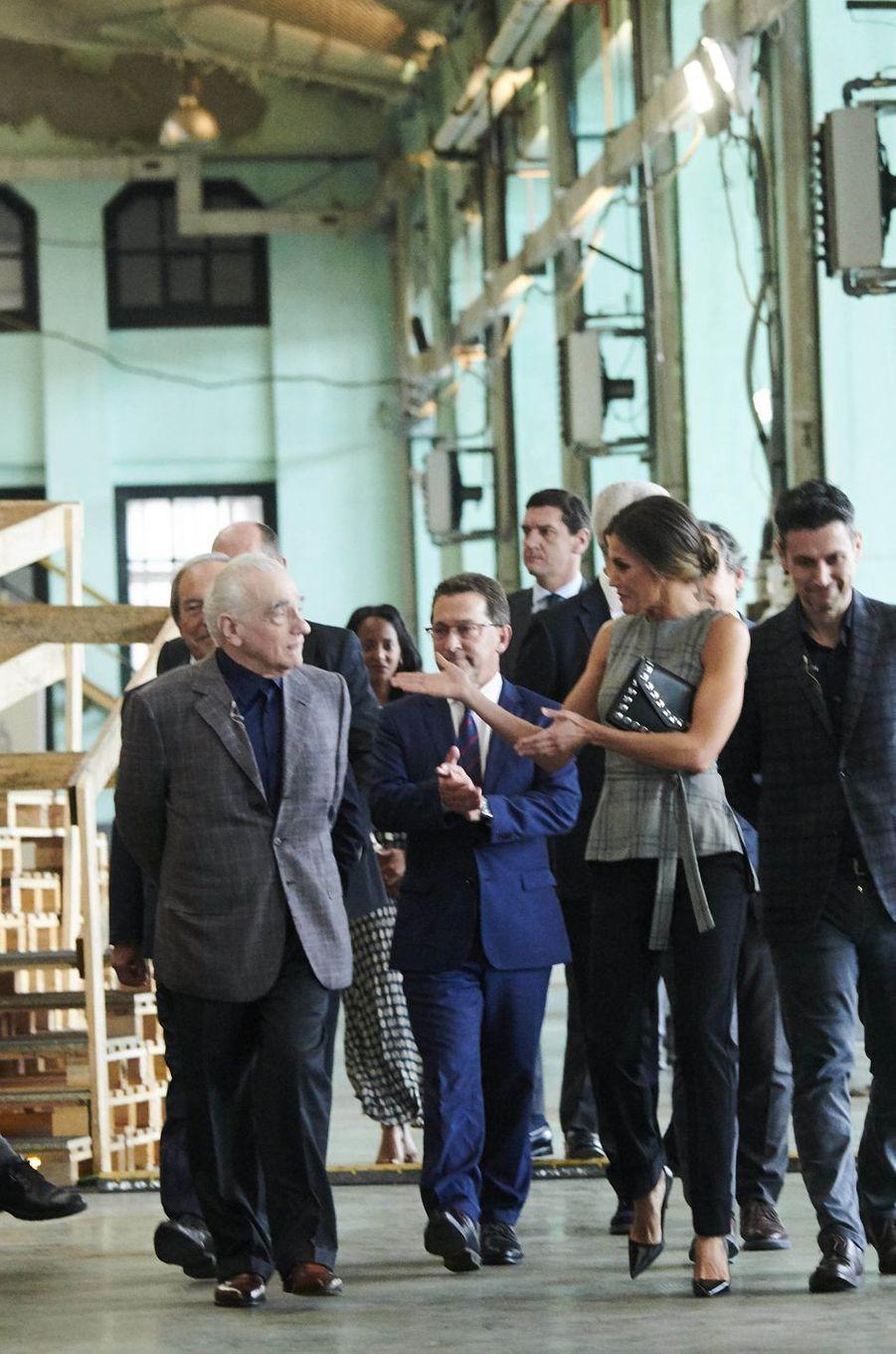La reine Letizia d'Espagne avec Martin Scorsese à Oviedo, le 18 octobre 2018