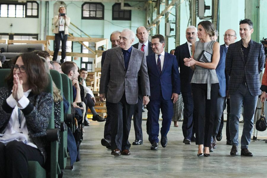 La reine Letizia d'Espagne à Oviedo avec Martin Scorsese, le 18 octobre 2018