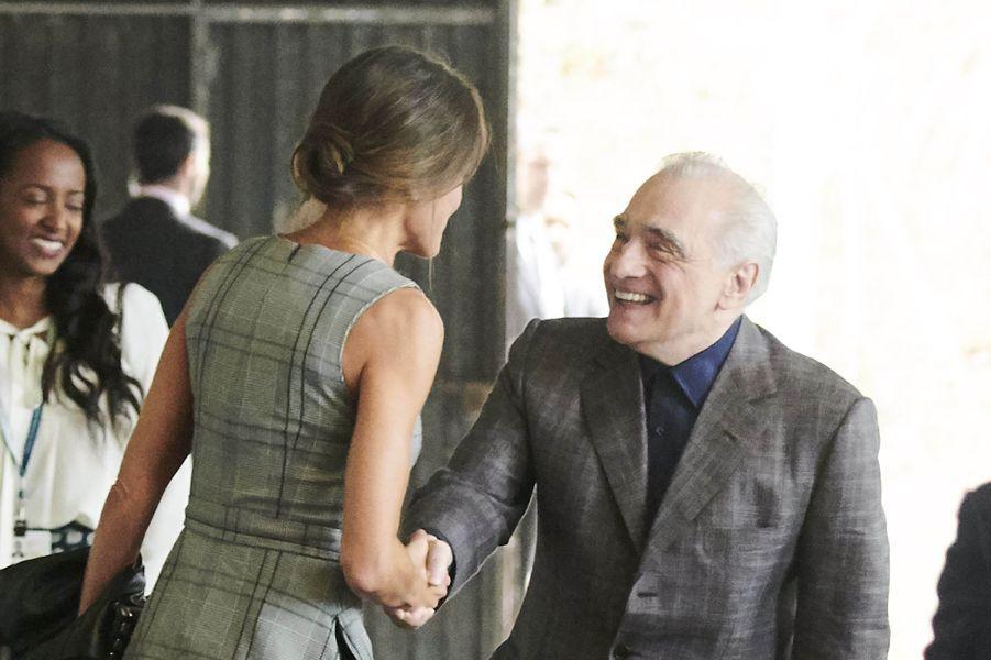 La reine Letizia d'Espagne rencontre Martin Scorsese à Oviedo, le 18 octobre 2018