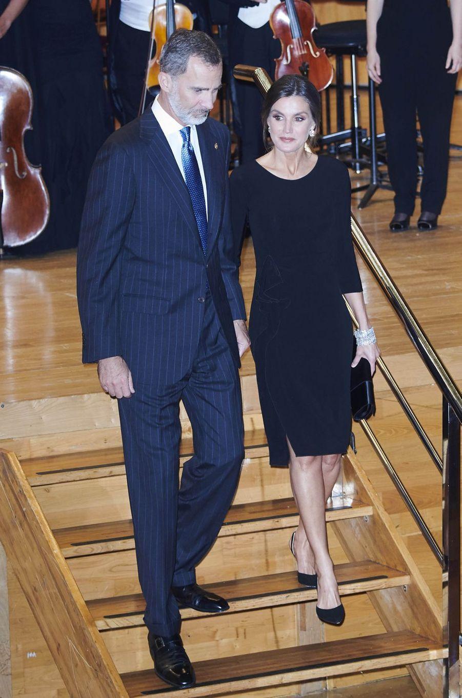 La reine Letizia et le roi Felipe VI d'Espagne à Oviedo, le 18 octobre 2018
