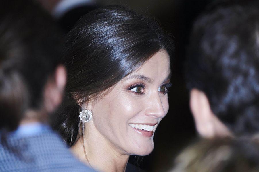 La reine Letizia d'Espagne à Oviedo, le 18 octobre 2018