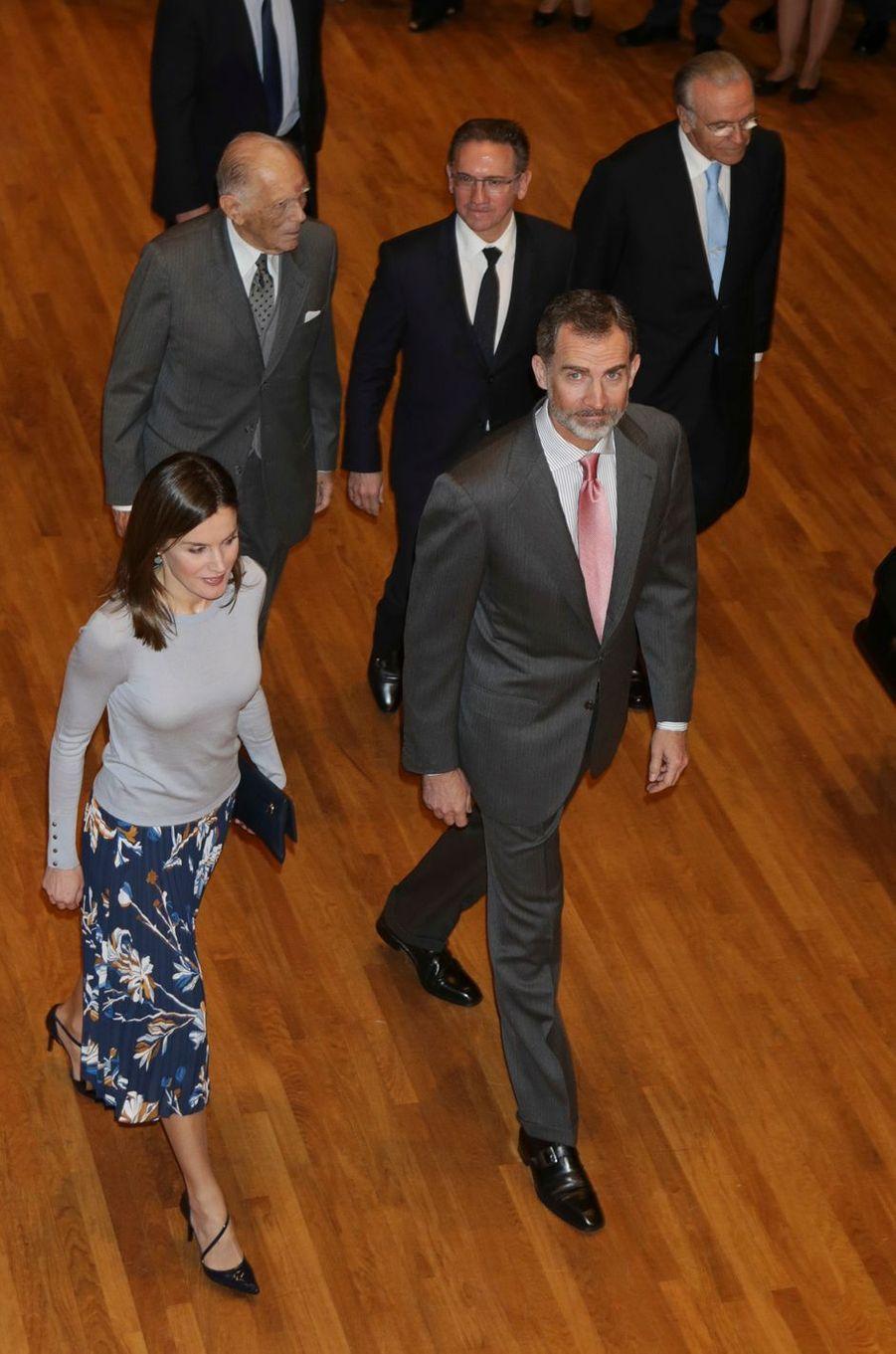 La reine Letizia et le roi Felipe VI d'Espagne à Madrid, le 10 avril 2018