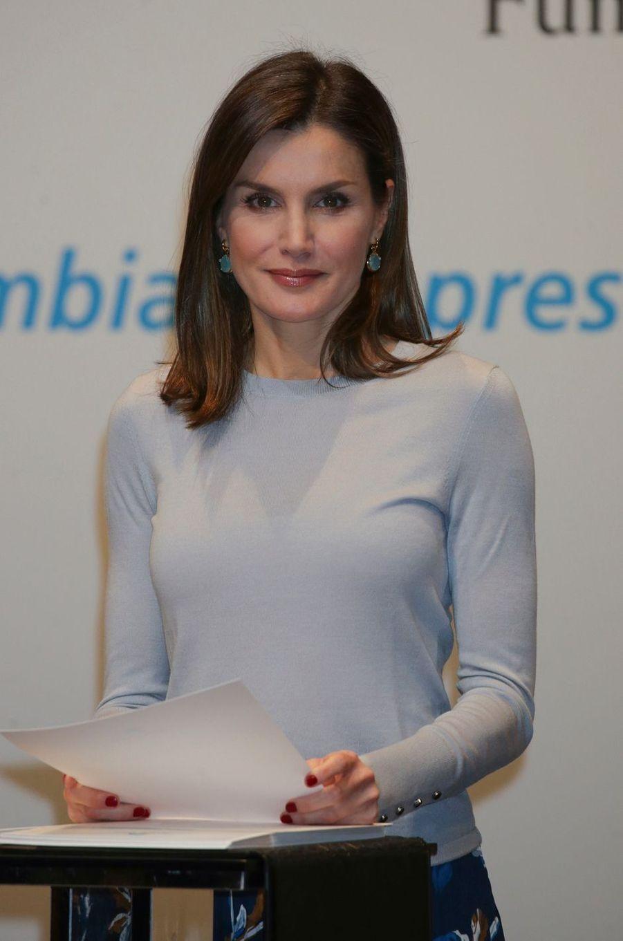 La reine Letizia d'Espagne à Madrid, le 10 avril 2018