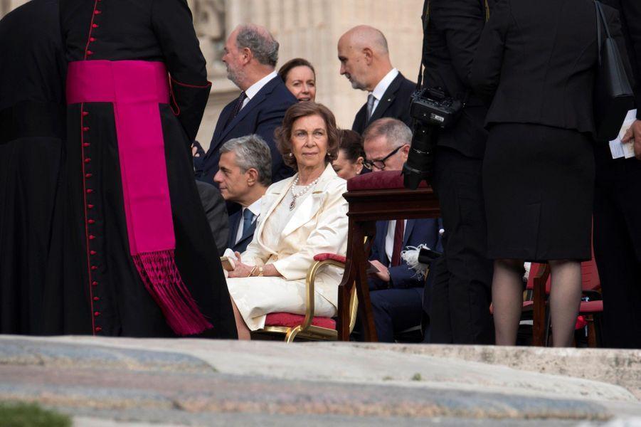 L'ancienne reine Sofia d'Espagne au Vatican, le 14 octobre 2018