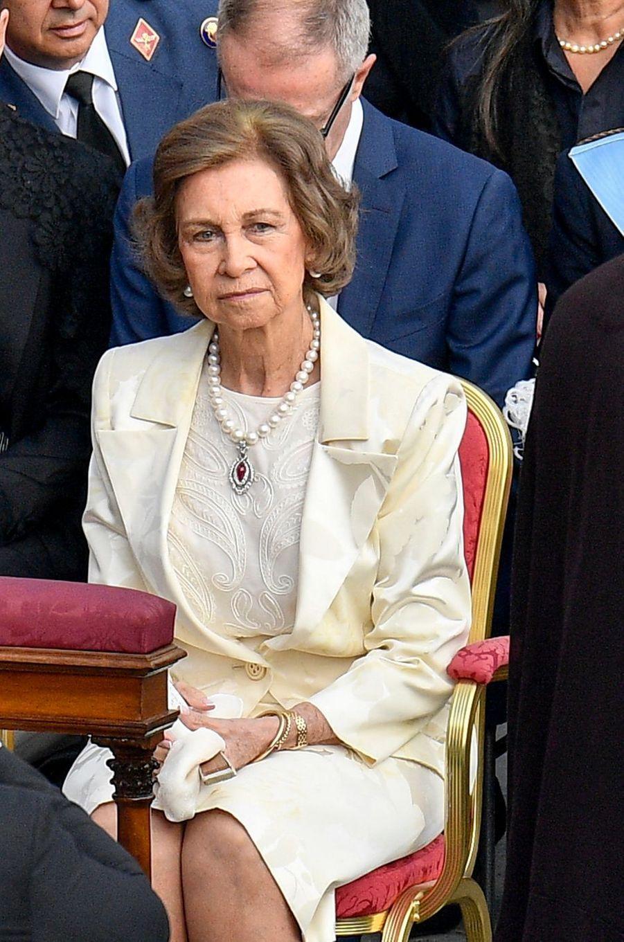 L'ancienne reine Sofia d'Espagne, en blanc, au Vatican le 14 octobre 2018