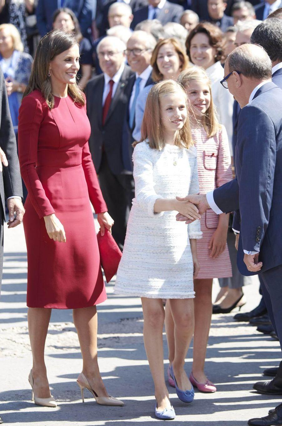 La reine Letizia d'Espagne et les princesses Leonor et Sofia à Covadonga, le 8 septembre 2018