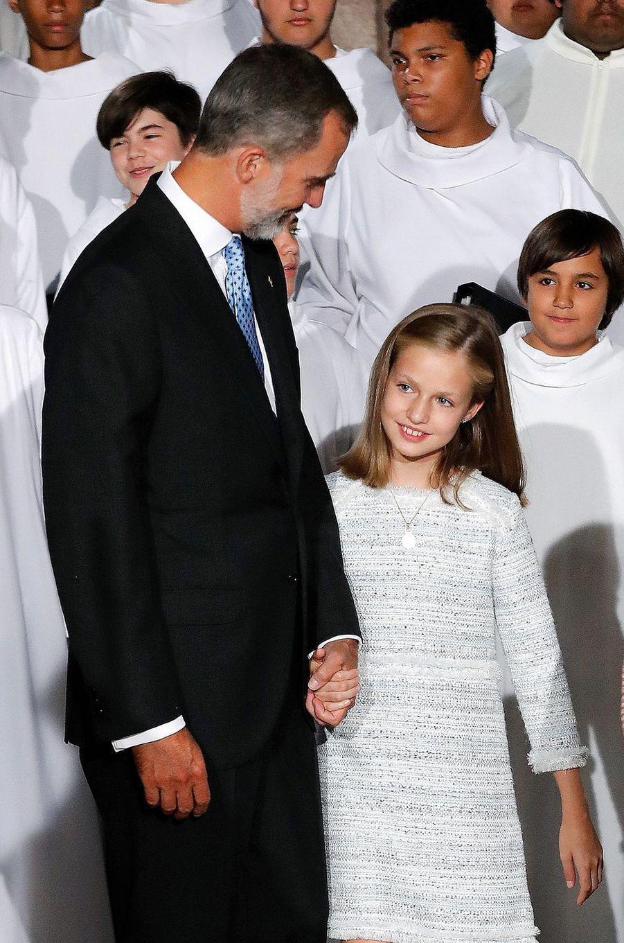 La princesse Leonor avec le roi Felipe VI d'Espagne à Covadonga, le 8 septembre 2018