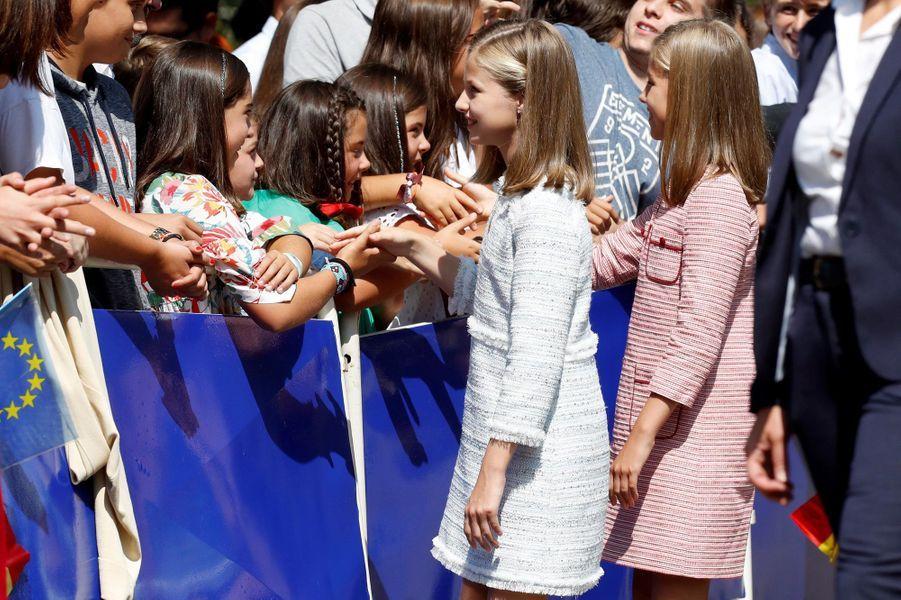 Les princesses Leonor et Sofia d'Espagne à Covadonga, le 8 septembre 2018