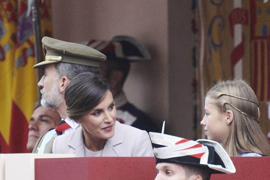 Le roi Felipe VI, la reine Letizia et la princesse Sofia d'Espagne à Madrid, le 12 octobre 2018