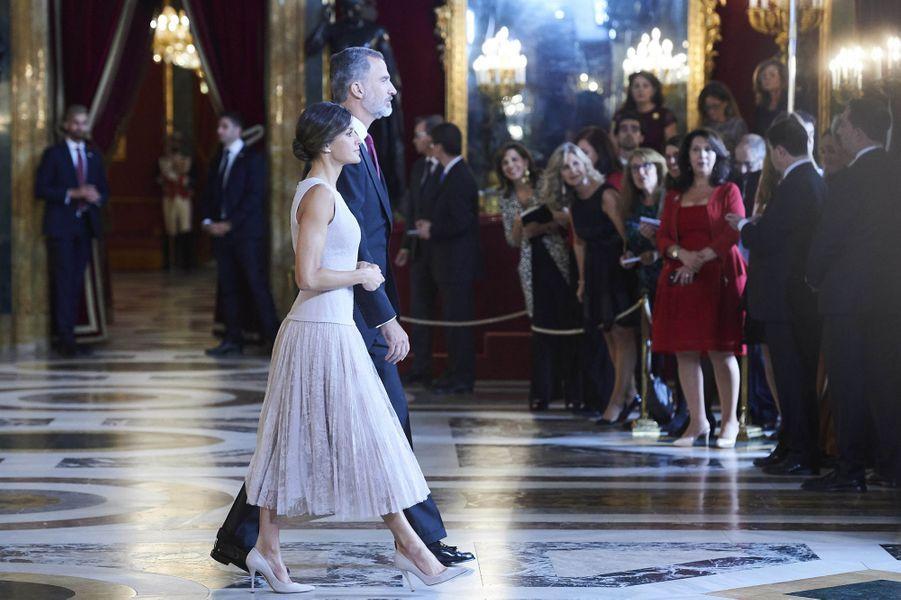 La reine Letizia et le roi Felipe VI d'Espagne à Madrid, le 12 octobre 2018