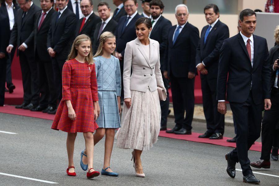 La reine Letizia et les princesses Leonor et Sofia d'Espagne à Madrid, le 12 octobre 2018