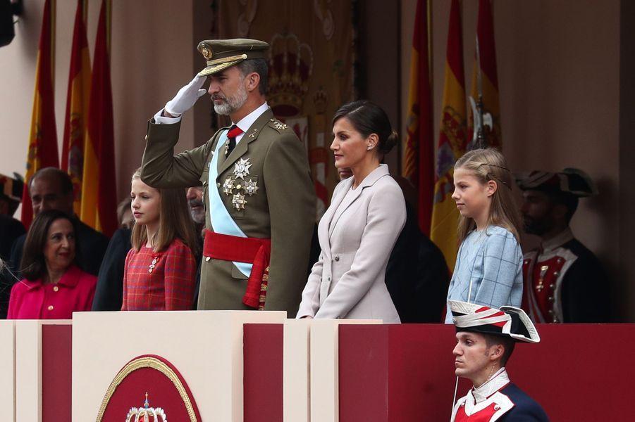 La reine Letizia, le roi Felipe VI et les princesses Leonor et Sofia d'Espagne à Madrid, le 12 octobre 2018