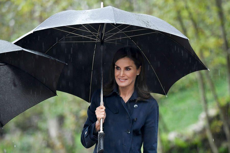 La reine Letizia d'Espagne à Asiegu, le 19 octobre 2019