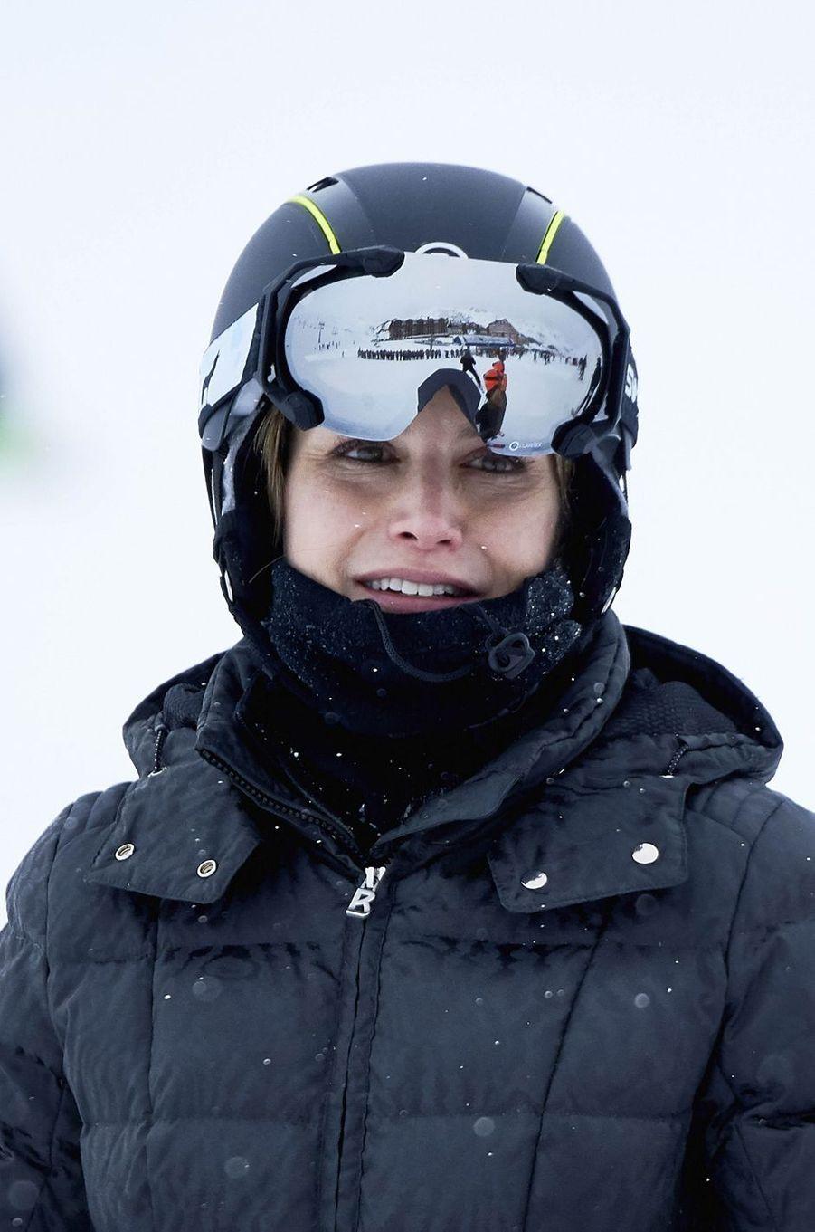 La reine Letizia d'Espagne à Astun dans les Pyrénées espagnoles, le 5 février 2017
