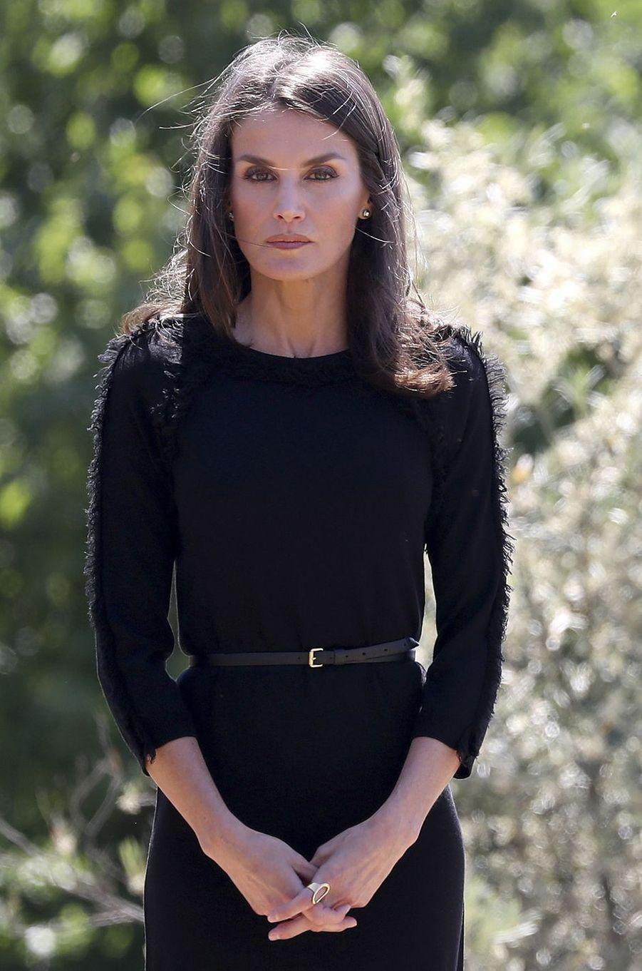 La reine Letizia d'Espagne à Madrid, le 27 mai 2020