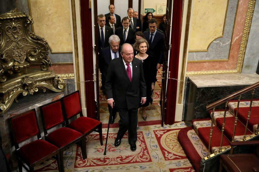 L'ex-roi Juan Carlos et l'ex-reine Sofia d'Espagne à Madrid, le 6 décembre 2018