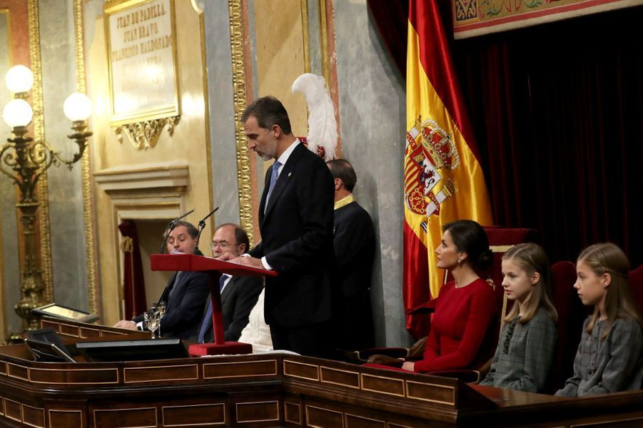 La famille royale d'Espagne à Madrid, le 6 décembre 2018