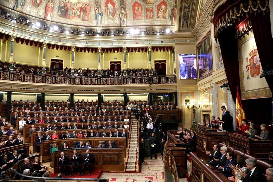 La famille royale d'Espagne au Congrès des députés à Madrid, le 6 décembre 2018