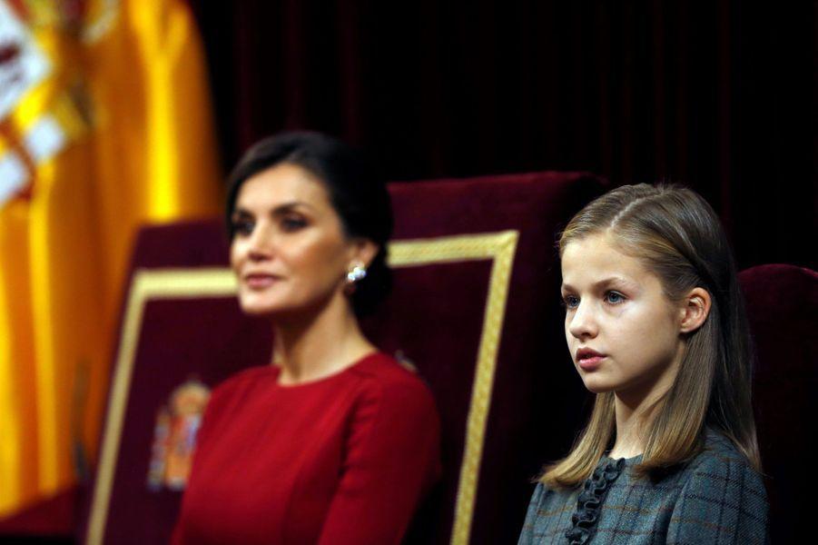 La reine Letizia d'Espagne et la princesse Leonor à Madrid, le 6 décembre 2018