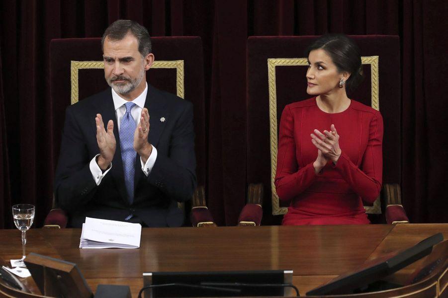 La reine Letizia et le roi Felipe VI d'Espagne à Madrid, le 6 décembre 2018