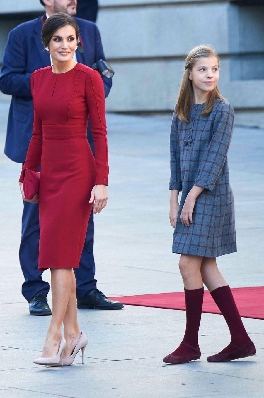 La reine Letizia d'Espagne et la princesse Sofia à Madrid, le 6 décembre 2018
