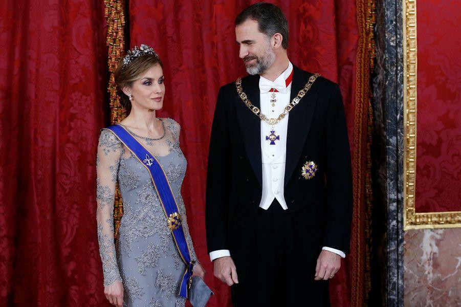 La reine Letizia et le roi Felipe VI d'Espagne, le 2 mars 2015