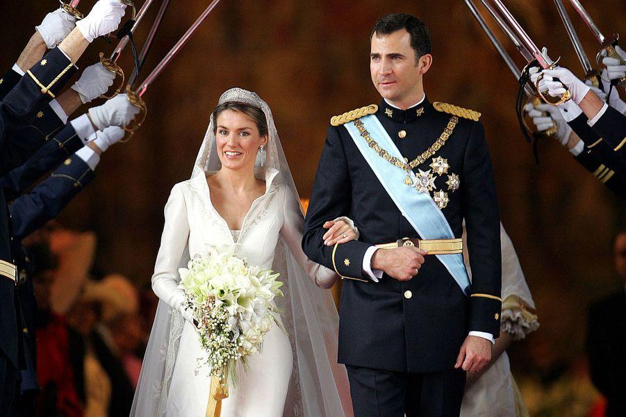 Letizia Ortiz et le prince Felipe d'Espagne lors de leur mariage, le 20 mai 2004