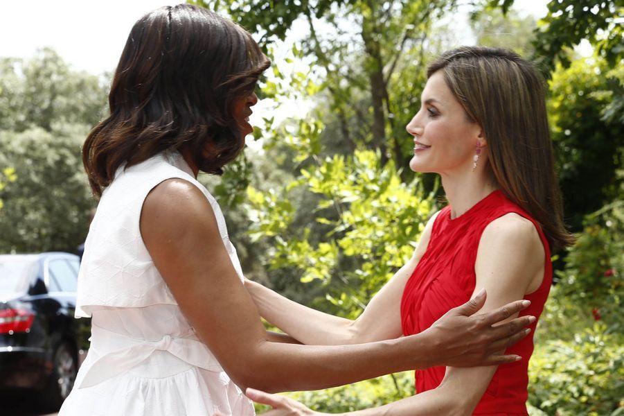 La reine Letizia d'Espagne et Michelle Obama à Madrid, le 30 juin 2016