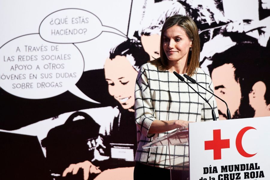 La reine Letizia d'Espagne à Albacete, le 9 mai 2016