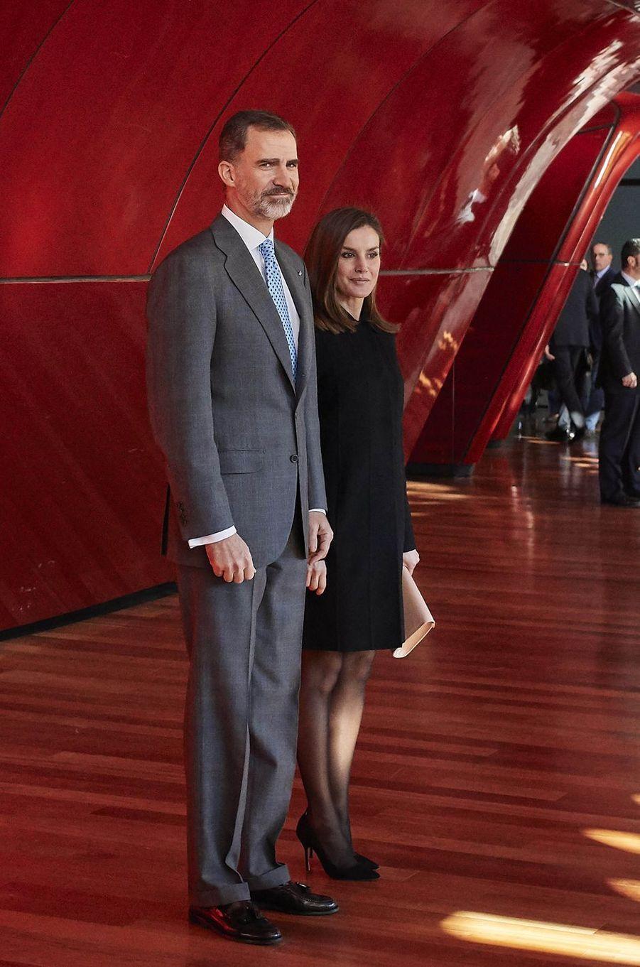Le roi Felipe VI et la reine Letizia d'Espagne à Madrid, le 15 janvier 2018