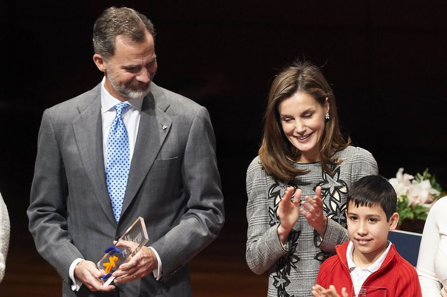 La reine Letizia et le roi Felipe VI d'Espagne à Madrid, le 15 janvier 2018
