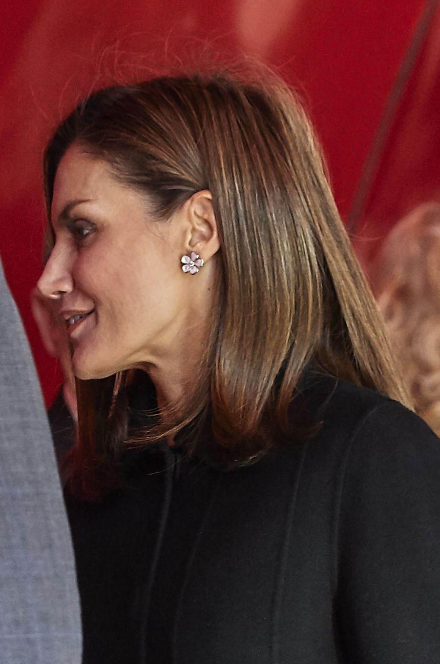 La reine Letizia d'Espagne à Madrid, le 15 janvier 2018