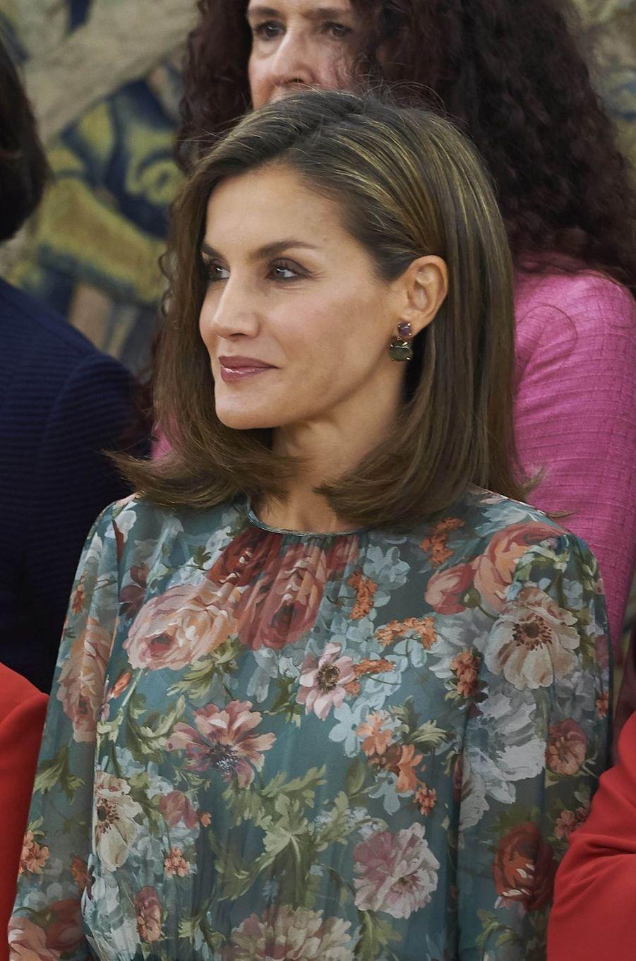 La reine Letizia d'Espagne à Madrid, le 17 octobre 2017