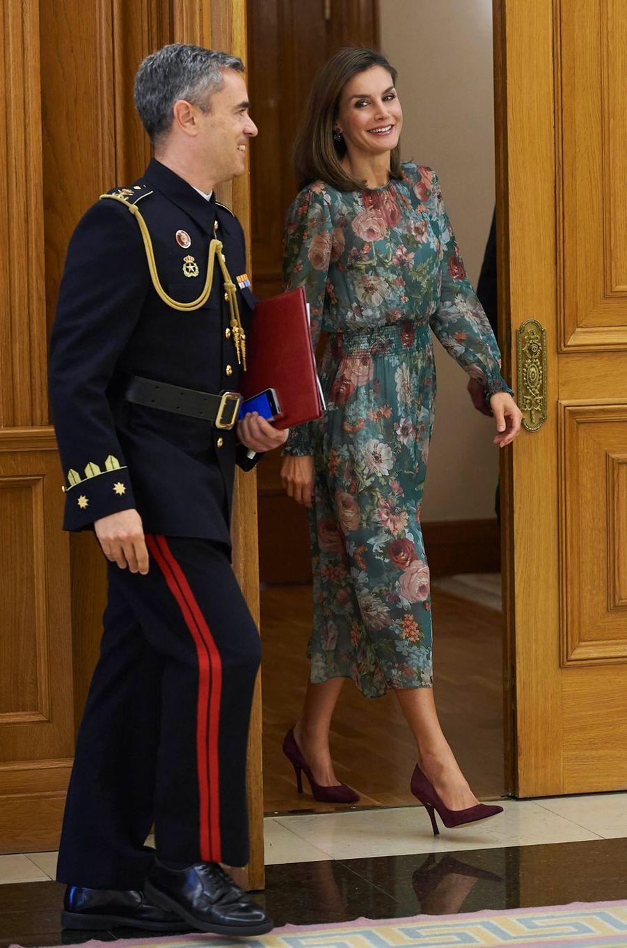 La reine Letizia d'Espagne au palais de la Zarzuela à Madrid, le 17 octobre 2017