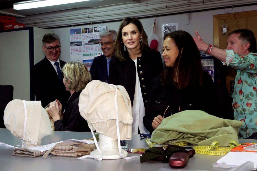 La reine Letizia d'Espagne à Madrid, le 15 mars 2018