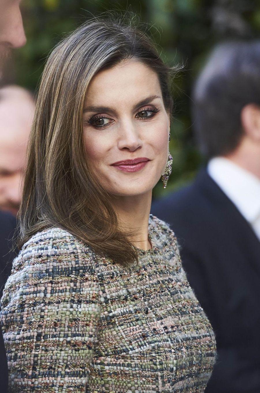 La reine Letizia d'Espagne à Madrid, le 17 février 2017