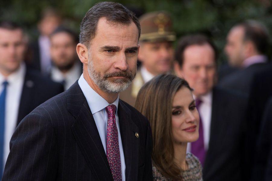 Le roi Felipe VI d'Espagne et la reine Letizia à Madrid, le 17 février 2017