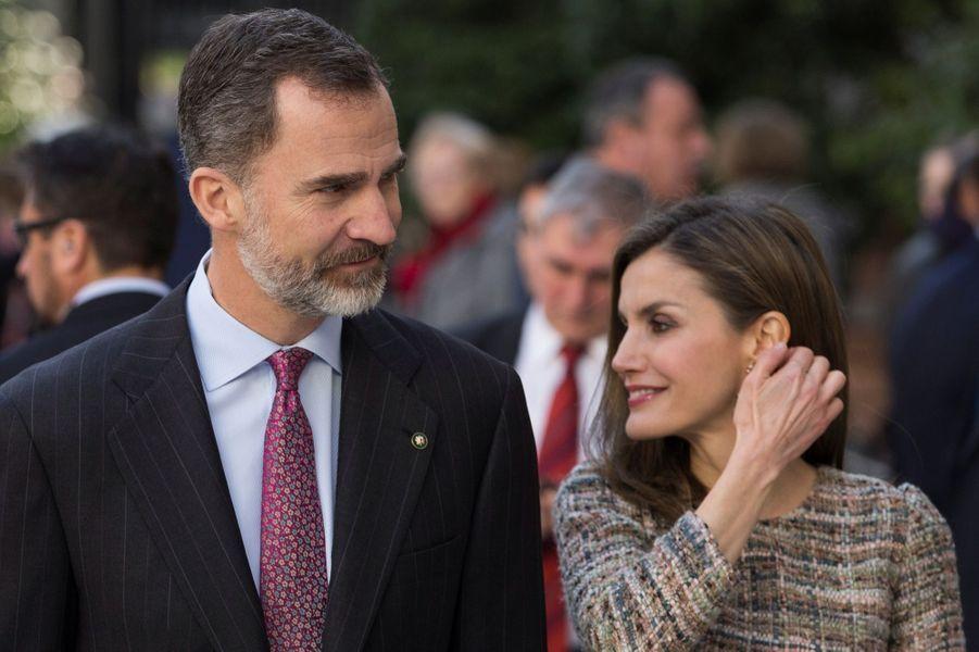 Le roi Felipe VI et la reine Letizia d'Espagne à Madrid, le 17 février 2017