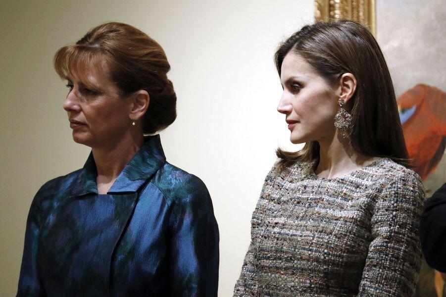 La reine Letizia d'Espagne et le First Lady hongroise à Madrid, le 17 février 2017
