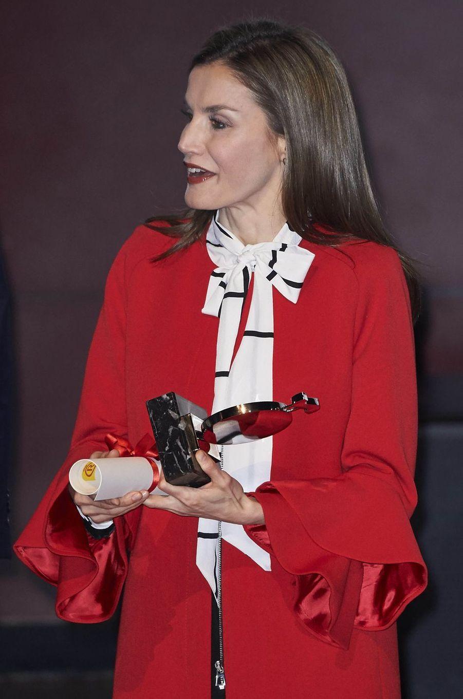 La reine Letizia d'Espagne à Madrid, le 14 mars 2017