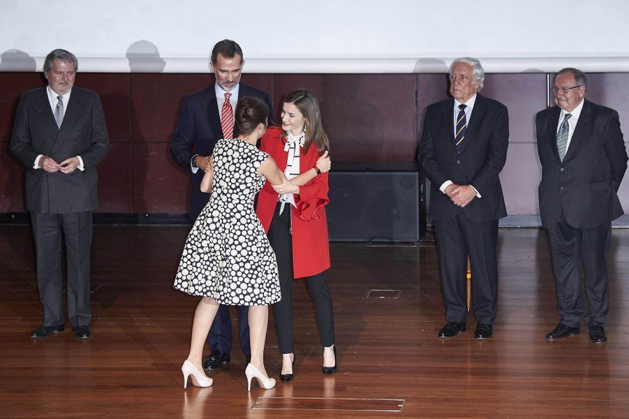 La reine Letizia et le roi Felipe VI d'Espagne à Madrid, le 14 mars 2017